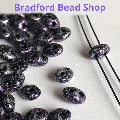 Matubo Glass Superduo Beads - Purple Tweed Marble Opaque - 2.5mm x 5mm