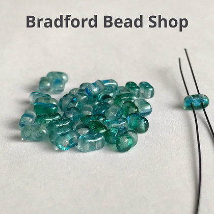 2 Hole Glass 'Oval Brick' Beads - Green/Blue Translucent - 3mm x 5.5mm