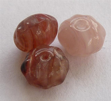 Glass Doughnut Beads - Browns/Creams Marble Effect