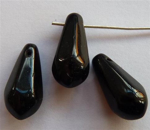 Glass Droplet Beads - Black Opaque Lrg