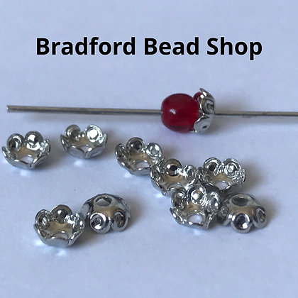 Bead End Cup (Plain) - 5mm - Platinum Plated