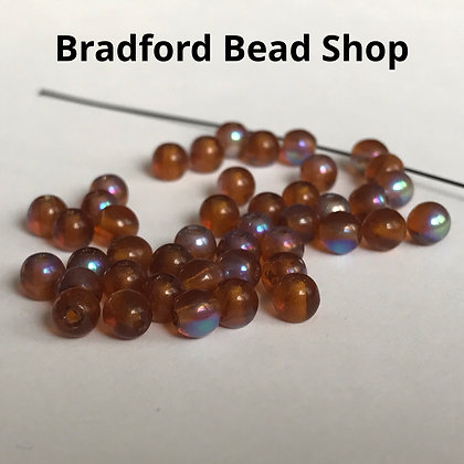Glass Round Beads -  Topaz AB Translucent - 4mm