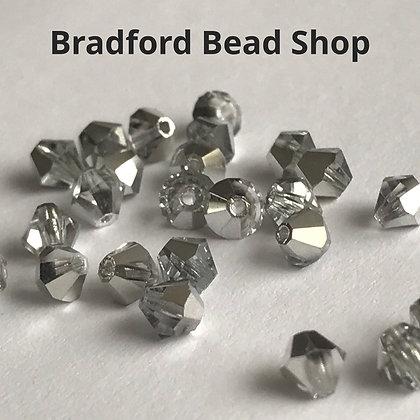 Machine Cut Bicone Beads - Silver Coat - 4mm