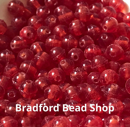 Glass Round Beads -   Red Translucent  Frosted - 3mm