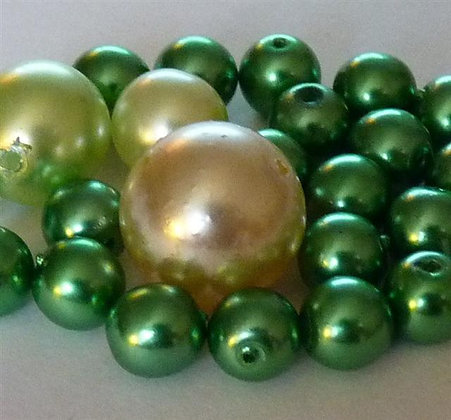 Glass Mixed Beads - Greens Pearl Effect