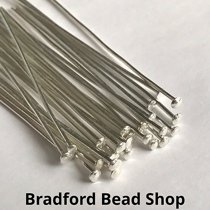 Head Pins - Silver Plated - 50mm x 0.8mm