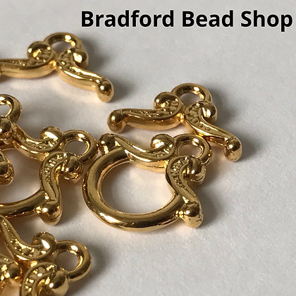 T-Bar Clasps with Pattern - 12mm - Gold Plated