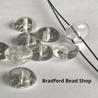 Glass Piggy Beads - Crystal Translucent - 8mm