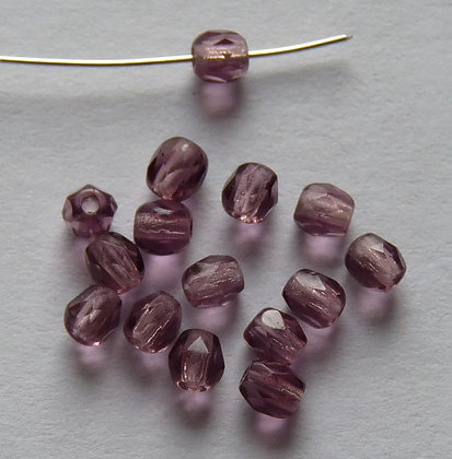 Glass Faceted Rounded Beads - Amethyst