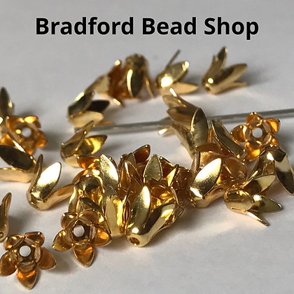 Bead End Cup (Flower) - 6mm - Gold Plated