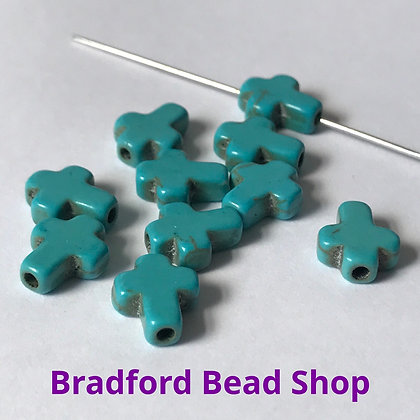 Turquoise Howlite Cross Beads - 8mm x 10mm