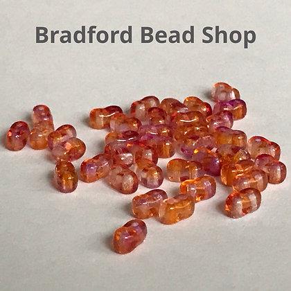 2 Hole Glass 'Oval Brick' Beads - Pink/Orange Translucent - 3mm x 5.5mm