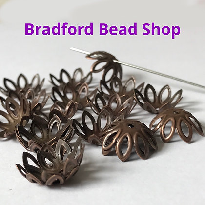 Bead End Cup (Pattern) - 12mm x 6mm - Copper Colour
