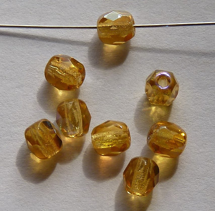 Glass Faceted Round Beads -Light Amber AB