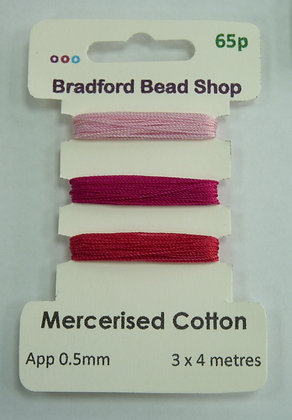 Mercerised Cotton Thread - Multi Pack - App. 0.5mm -Pale Pink, Cerise & Pink