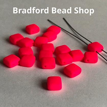 2-hole Glass Tile Bead - Neon Pink Opaque Matte- 6x6mm