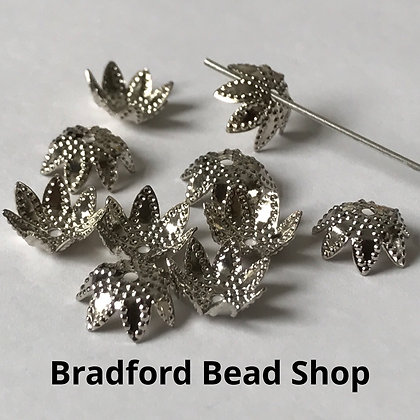 Bead End Cup (Pattern) - 10mm - Platinum Plated