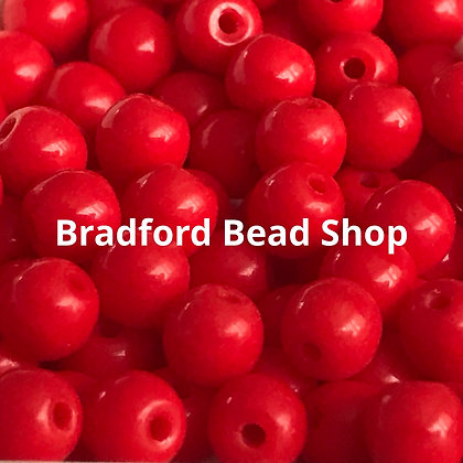 Glass Round Beads - Red Opaque - 4mm