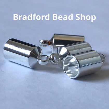 End Caps - 4mm x 10mm - Silver Plated Barrel
