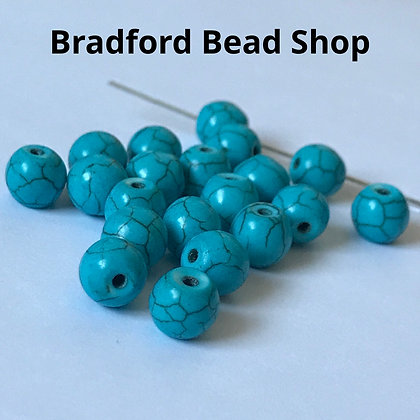 Turquoise Howlite Round Beads - 8mm