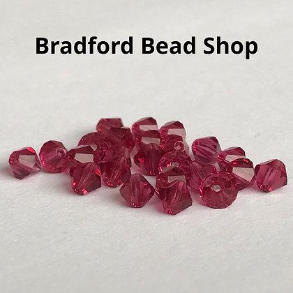 Machine Cut Bicone Beads - Deep Rose Translucent - 4mm