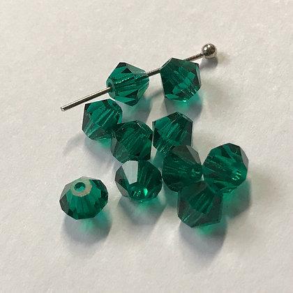 Machine Cut Bicone Beads - Emerald Green - 5mm