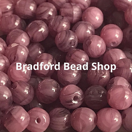 Glass Round Beads - Purple/White Marble Translucent - 4mm
