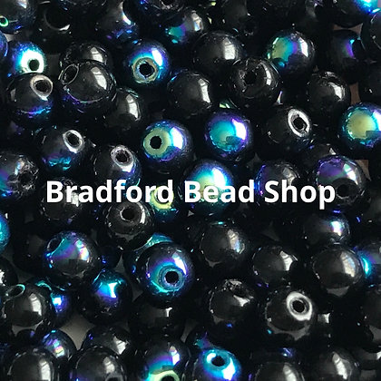 Glass Round Beads - Black AB Opaque - 4mm