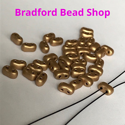 2 Hole Glass 'Oval Brick' Beads - Gold Satin Opaque - 3mm x 5.5mm