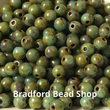 Glass Round Beads -   Olive/Marble Opaque  - 3mm