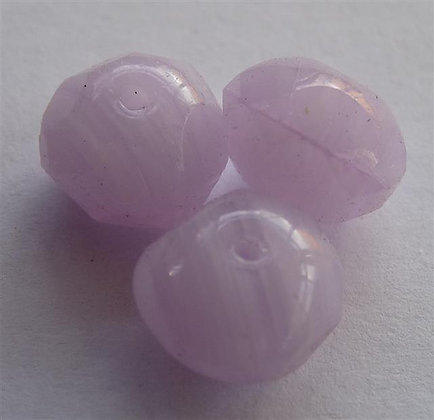 Glass Doughnut Beads - Lilac/White Marble Effect