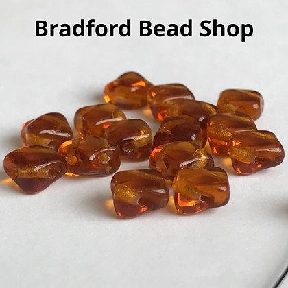 Glass 2 Hole Diamond Beads - Amber Translucent - 6mm
