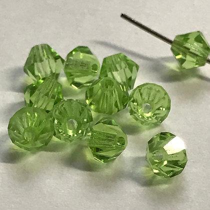 Machine Cut Bicone Beads - Light Green - 5mm
