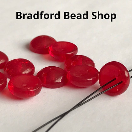 Glass Piggy Beads - Red Translucent - 8mm
