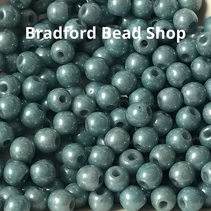 Glass Round Beads - Pastel Blue Opaque Lustre - 3mm