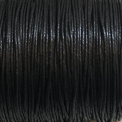 Waxed Cord - 1mm - Black - x 10 Metres