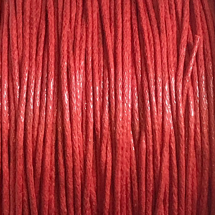 Waxed Cord - 1mm - Red- x 10 Metres