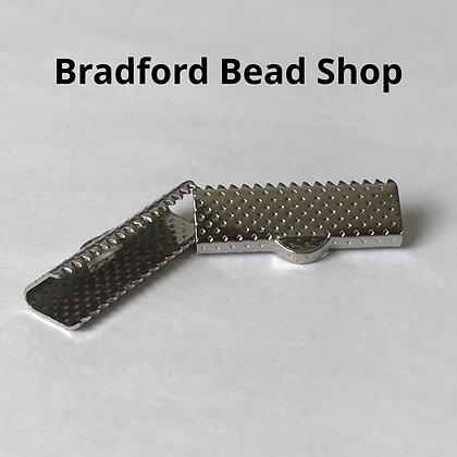 Ribbon End Crimp - Rectangle - 8x20x7mm - Platinum Plated