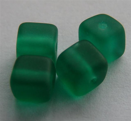 Glass Bead - Cubed Frosted Bottle Green