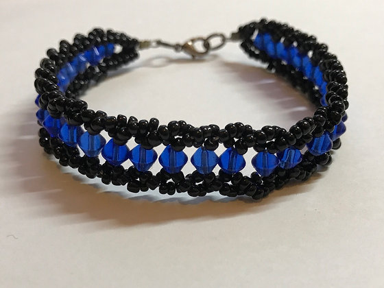 Bicone Seeded Band Bracelet Kit - Blue Bicone & Black Seed Beads