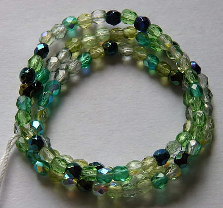 Glass Faceted Rounded Beads - Green Mix