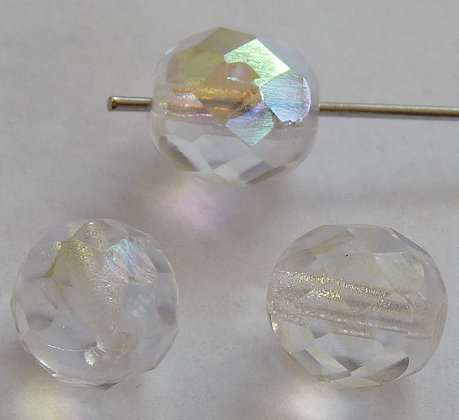 Glass Faceted Round Beads - Clear AB 8mm