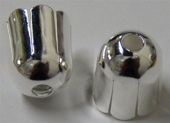 End Cup - 10mm  x 10mm (2mm top hole) - Silver Plated