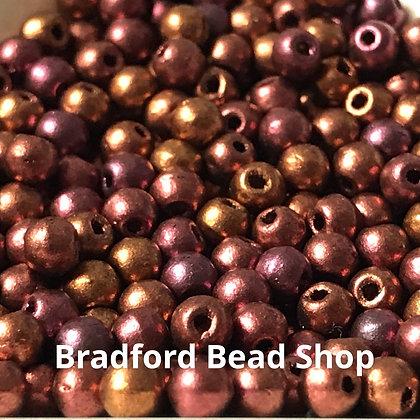 Glass Round Beads -  Rose/Bronze Opaque - 3mm