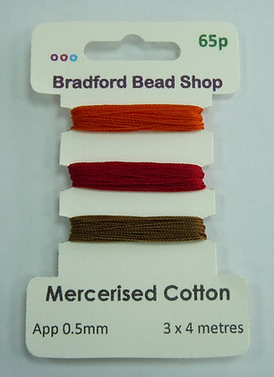 Mercerised Cotton Thread - Multi Pack - App. 0.5mm -Orange, Red & Beige