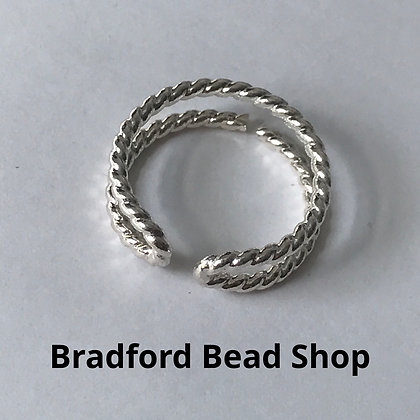 Adjustable Double Band Ring (Rope) - app 20mm - Silver Plated