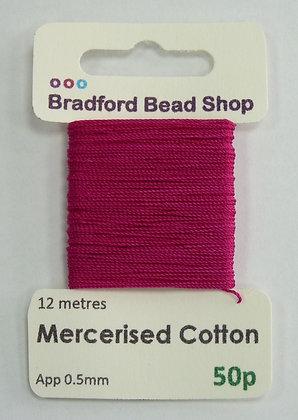 Mercerised Cotton Thread - App. 0.5mm x 12 metres - Cerise Pink