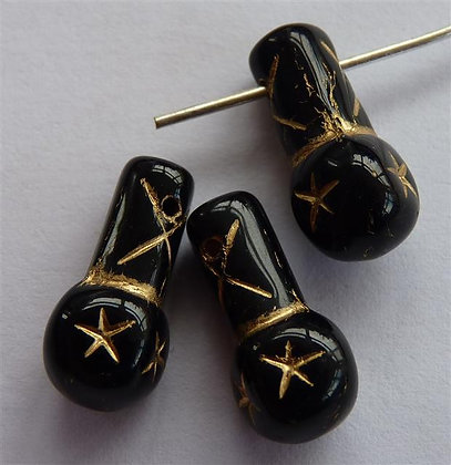 Glass Droplet Beads - Black Opaque with Gold