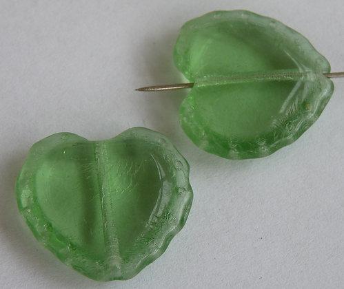 Glass Heart Beads- Green Transparent