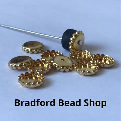Bead End Cup (Flat) - 8mm x 2mm - Gold Plated